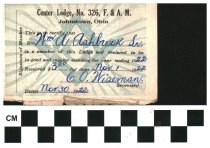 Image of Center Lodge membership card Johnstown, OH 1922
