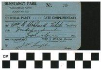 Image of Olentangy Park pass Columbus, Ohio 1923
