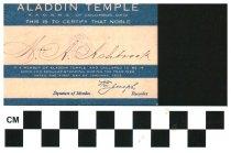 Image of Aladdin Temple Columbus, OH membership card 1922
