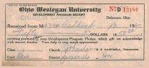 Image of Ohio Wesleyan Univeristy receipt 1931