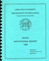 Image of 2017-241992NCATEReportA - Ashland University Department of Education Preparing Professional Educators  NCATE Institutional Report 1992 Section II: Standards for the Unit Appendix A