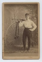 Image of [Charlie Meissner with high-wheel bicycle] - Print, Photographic