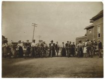 Image of Staten Island Bicycle Club Tea crowd with wheels in line - Print, Photographic