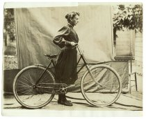 Image of Daisy Elliott with a bicycle, photo by Alice Austen, ca. 1895