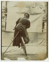 Image of Daisy Elliott on a bicycle, photo by Alice Austen, ca. 1895