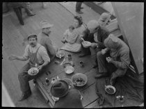 Image of S.S. Finland, steerage at supper, photo by Alice Austen, 1909