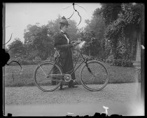 Image of Alice Austen with bicycle, photo by Alice Austen, ca. 1895