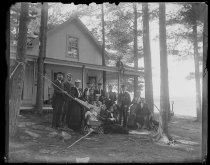 Image of [The Butler's house and party] - Negative, Glass-plate
