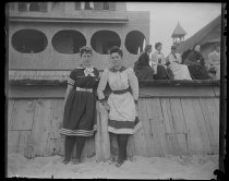 Image of [Annie Collins & self in bathing suits] - Negative, Glass-plate