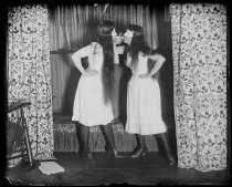 Image of Trude and I masked, short skirts, photo by Alice Austen, 1891