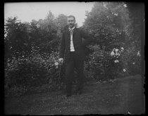 Image of Mr. Gregg at our house standing, photo by Alice Austen, 1891