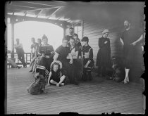 Image of Group of bathers at Boathouse, photo by Alice Austen, 1891