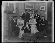 Image of Mrs Meyers, Nan Webb Julia B. & self Messrs Booth, Rawl, Lebrod, Micklesly & Shumann - Negative, Glass-plate