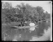Image of Swan boat, Julia & Grandpa - Negative, Glass-plate