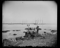 Image of Four masted schooner and children on beach, photo by Alice Austen, 1890