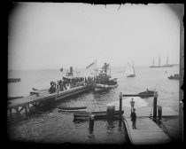 Image of Clifton Boat Club race dock & tugs, photo by Alice Austen, 1890