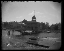 Image of Boat house front, from dock - Negative, Glass-plate