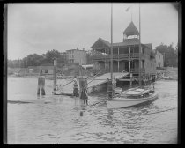 Image of Boathouse float, bathers - Negative, Glass-plate
