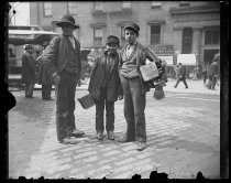 Image of [Three bootblacks] - Negative, Glass-plate