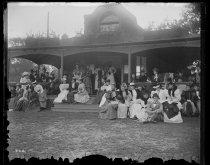 Image of [Staten Island Ladies Club - crowd on Piazza] - Negative, Glass-plate