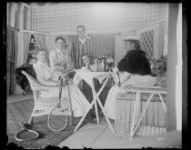 Image of [The Roosevelts, Nellie Janssen, Gertrude Williams, Mr. Randolph Walker, Lunch Party] - Negative, Glass-plate