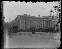 Image of Mrs Harrisons funeral passing Treasury - Negative, Glass-plate