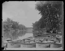 Image of Lake & swan boats Lincoln Park, photo by Alice Austen, 1893