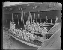 Image of Naval cadets in boats, oars up, photo by Alice Austen, 1894