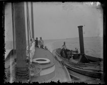 Image of Naval launch towing Wabun to anchor, photo by Alice Austen, 1892