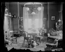 Image of The Strongs library from back parlor, photo by Alice Austen, 1892