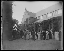 Image of Class Day Crowd around Chapel Rutgers College - Negative, Glass-plate