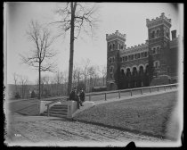 Image of Lehigh University Side of Library, with G. Booth & L. Rogers - Negative, Glass-plate