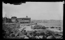 Image of Boathouse & shore - Negative, Glass-plate