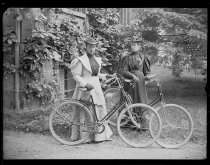 Image of Maria Ward and Daisy Elliott with bicycles, photo by Alice Austen, ca. 1895