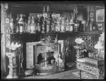 Image of Parlor at home, fireplace - Negative, Glass-plate