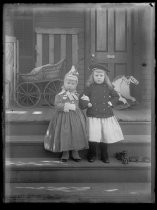 Image of [Bertie and Stanhope Blunt on steps] - Negative, Glass-plate