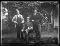 Image of [Julia Martin, Julia Bredt and self dressed up, sitting down] - Negative, Glass-plate