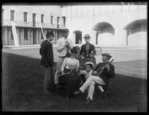 Image of [Group of officers, Trude and self at Fort] - Negative, Glass-plate