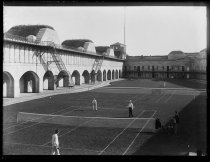 Image of Tennis grounds at Fort, officers playing - Negative, Glass-plate
