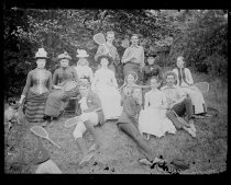 Image of Group on tennis ground - Negative, Glass-plate