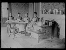 Image of [Cooking club girls around table] - Negative, Glass-plate