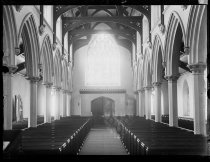 Image of Interior of St John's church from chancel looking at door - Negative, Glass-plate