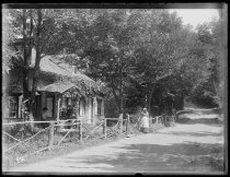 Image of Old house road & women, photo by Alice Austen, 1889