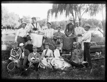 Image of Large group on tennis ground, photo by Alice Austen, 1888