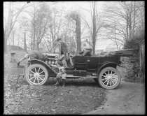 Image of Cornell boys with new automobile, photo by Alice Austen, ca. 1910
