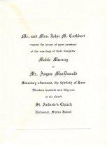 Image of wedding invitation, 1951