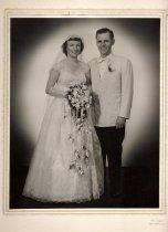Image of wedding portrait by W. Cogan, New Dorp, Staten Island, 1951