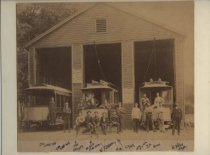 Image of Trolleys and workers, Jewett Avenue, Westerleigh, ca. 1893