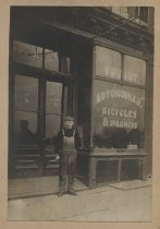 Image of J.C. Vought automobile and bicycle repair shop, Tompkinsville, ca. 1910