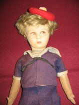 Image of detail, doll's head and upper body